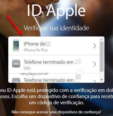 escolher como receber código segurança Apple ID