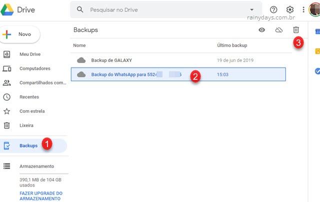 Excluir backup do WhatsApp do Google Drive