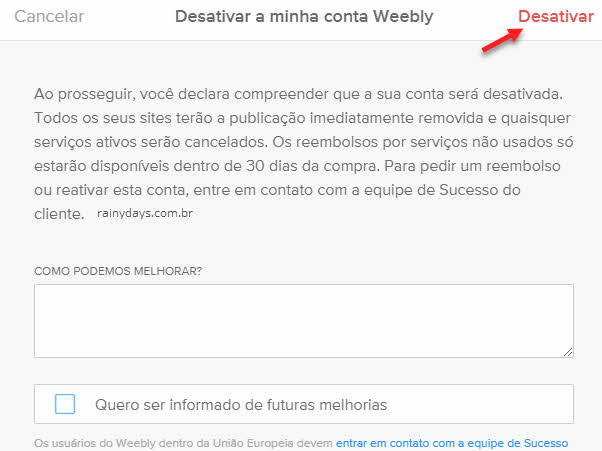 Como excluir conta do Weebly permanente