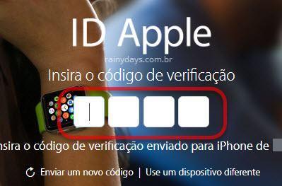 inserir código de verificação ID Apple