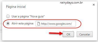 Mudar página inicial dos navegadores 2