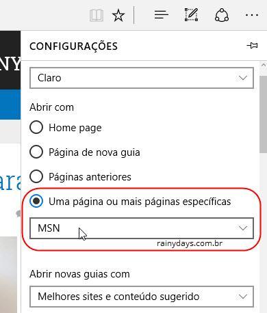 Mudar Página Inicial dos navegadores (Edge)