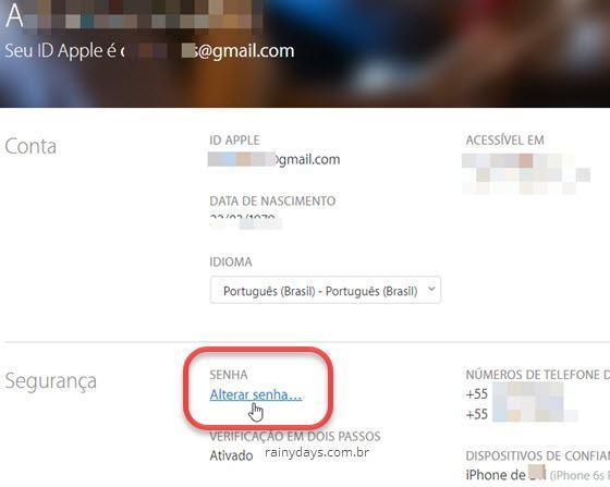 Como mudar senha do Apple ID