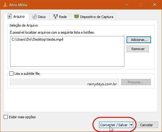 remover áudio de vídeo com VLC 4
