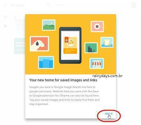Salvar sites na sua conta Google 3