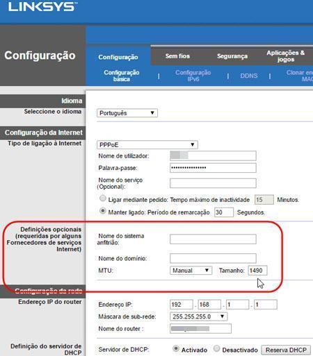Melhorar conexão modificando MTU roteador
