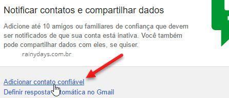 adicionar contato confiável conta inativa Google