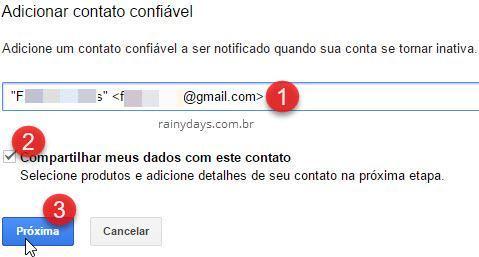 adicionar contato confiável para ser notificado da conta inativa Google