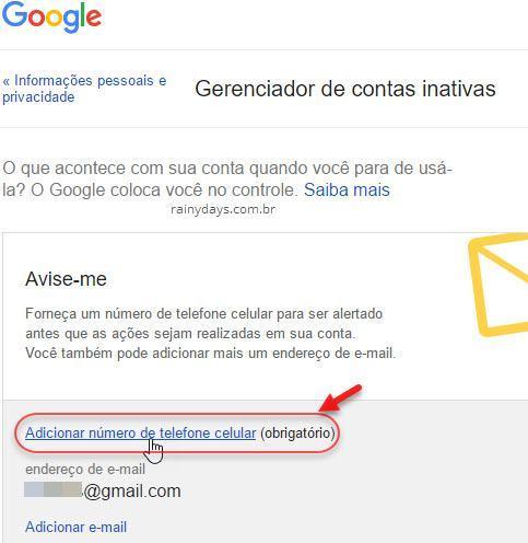 adicionar número de telefone celular conta inativa Google