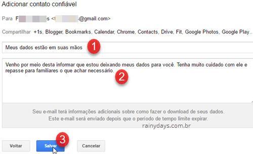 assunto e mensagem para contato confiável Google