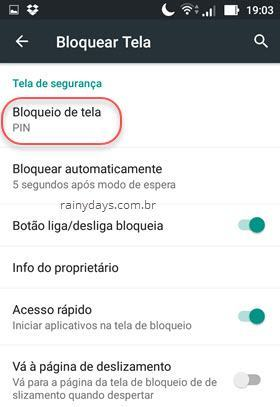 Bloqueio de tela do Android