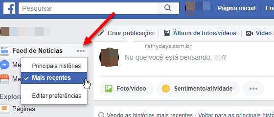 Colocar Facebook em ordem cronológica