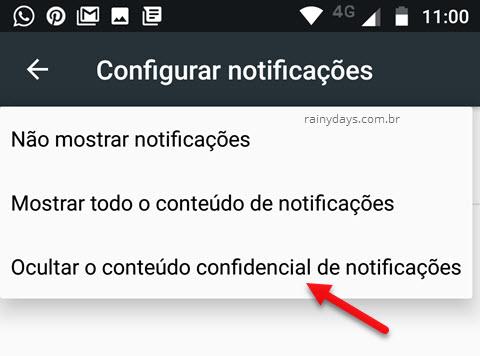 Como esconder as notificações da tela do Android bloqueio