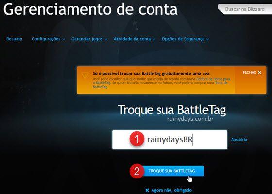 Como mudar nome na Blizzard BattleTag