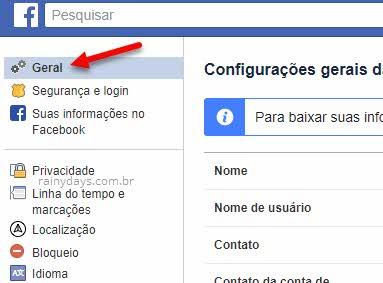 Configurações Geral Facebook