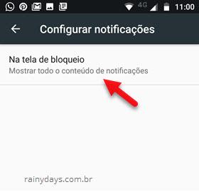 Configurar notificações na tela de bloqueio Android