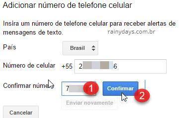confirmar número de celular conta inativa Google