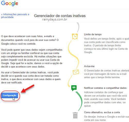 Deixar conta do Google para familiar quando morrer