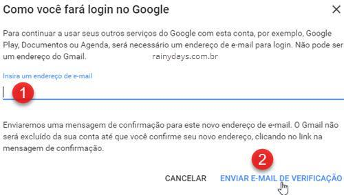 email de login no Google ao excluir conta