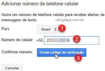 enviar código de verificação conta inativa Google