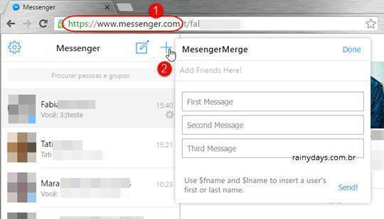 Enviar mensagens no Messenger para várias pessoas ao mesmo tempo