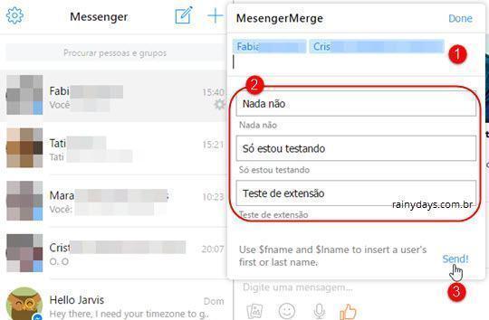 Enviar mensagens no Messenger para várias pessoas 2