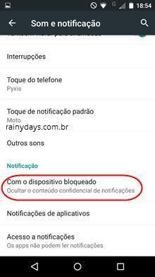 esconder as notificações da tela do Android 4