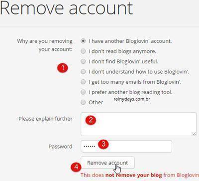 Como excluir conta do Bloglovin 3