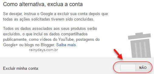 excluir conta inativa Google