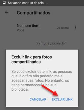 Excluir link para fotos compartilhadas Google Fotos