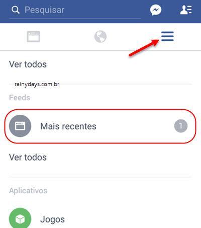 Facebook em ordem cronológica no ANdroid