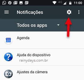 ícone engrenagem notificações Android