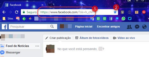 link para Facebook em ordem cronológica