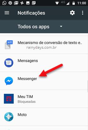 notificações Todos Aplicativos Messenger
