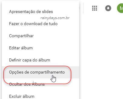 Opções de compartilhamento Google Fotos