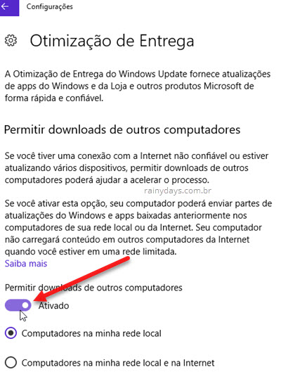 Otimização de entrega do Windows Update