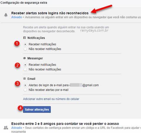 Receber alertas sobre login não reconhecidos Facebook