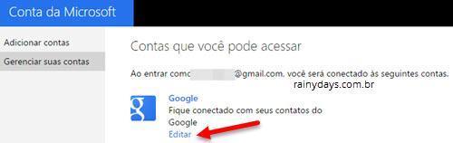 Reconectar conta do Google na Microsoft 2