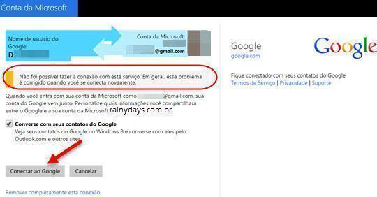 Reconectar conta do Google na Microsoft 3