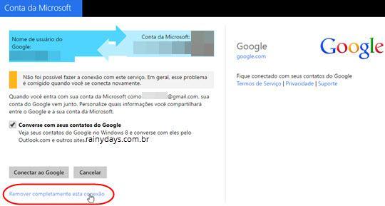 Reconectar conta do Google na Microsoft 6