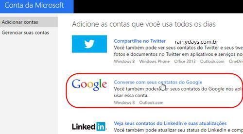 Reconectar conta do Google na Microsoft 8