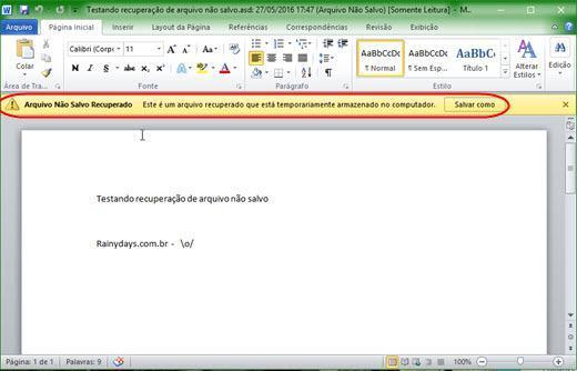 Recuperar arquivo não salvo no Microsoft Office 5