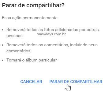 Remover compartilhamento de álbum no Google Fotos