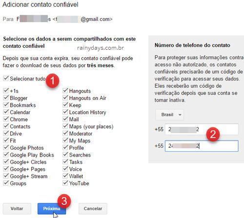 selecionar dados a serem compartilhados com contato confiável Google
