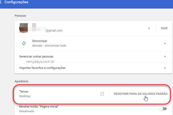 Temas Chrome redefinir para valores padrão