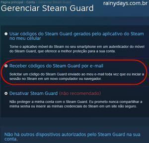 Receber códigos do Steam Guard por email