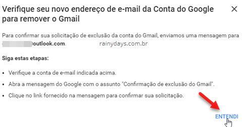 Verifique novo endereço de email da conta Google para remoer Gmail