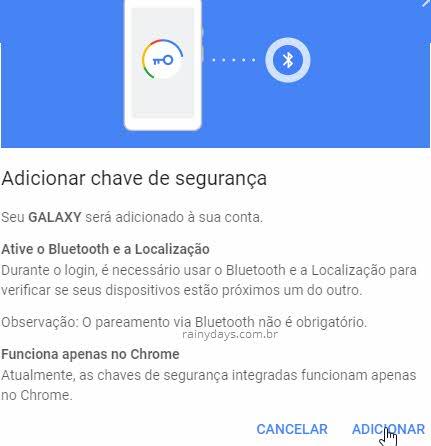 Adicionar chave de segurança Android na conta Google