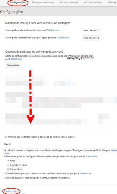Como apagar página do Google Plus 2