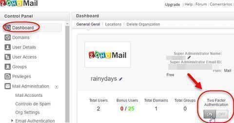 Ativar verificação em duas etapas no Zoho Mail